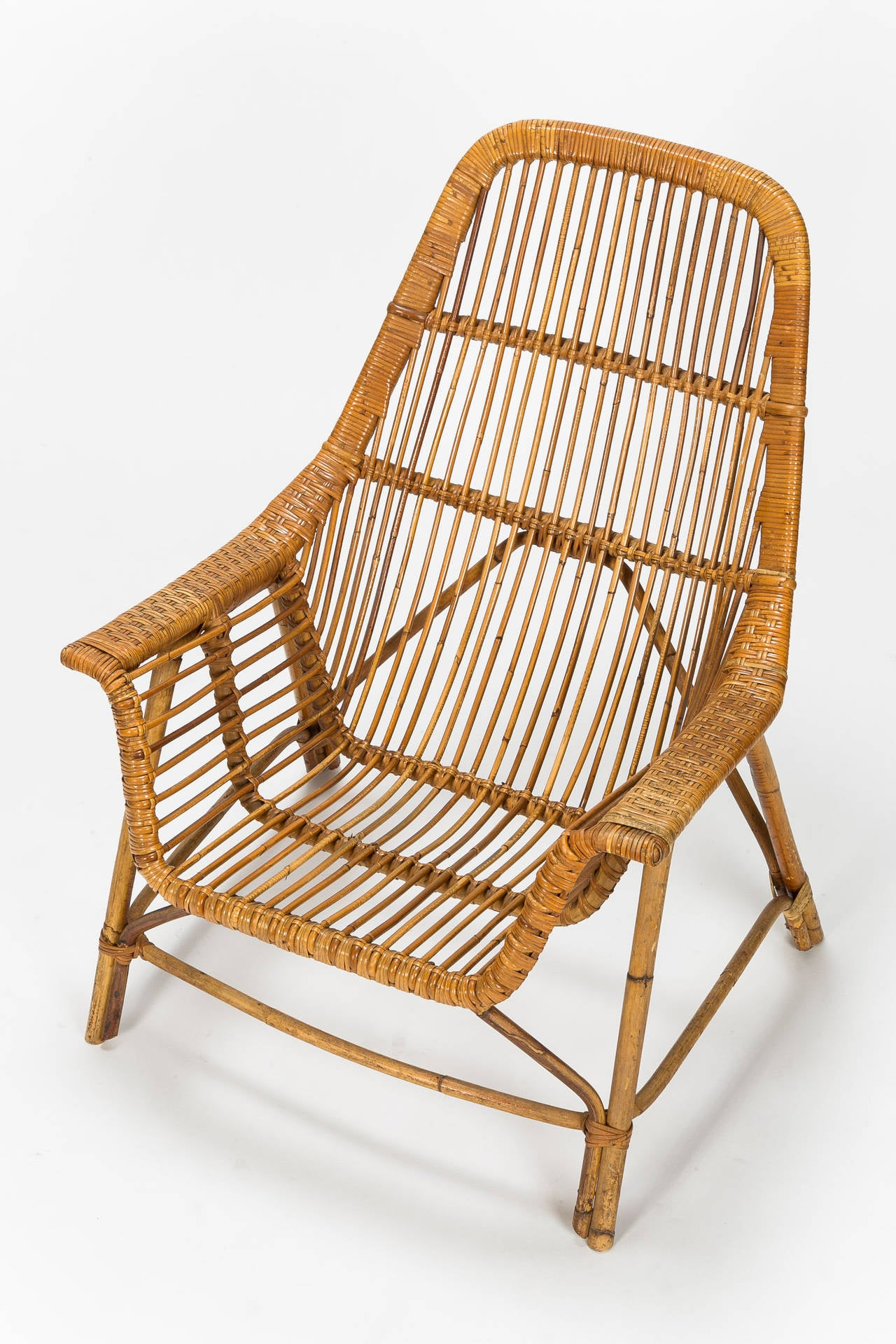 Pair of Italian Wicker Chairs by George Coslin, 1956 at ...