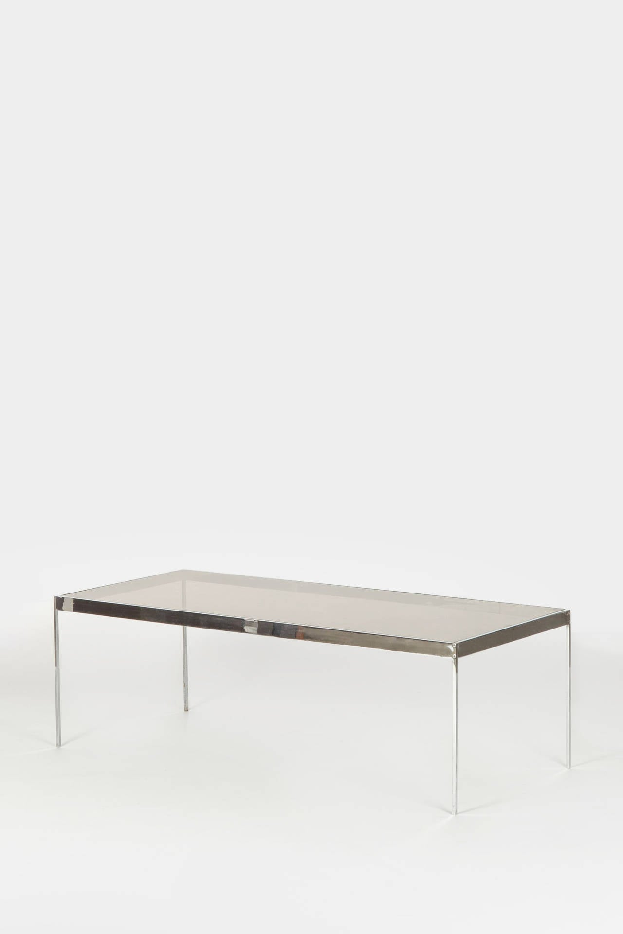 Swiss Glass and Chrome Coffee Table by Dieter Waeckerlin at 1stdibs