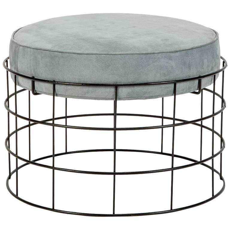 Rare Wireframe T1 Plus Stool With Suede Leather By Verner