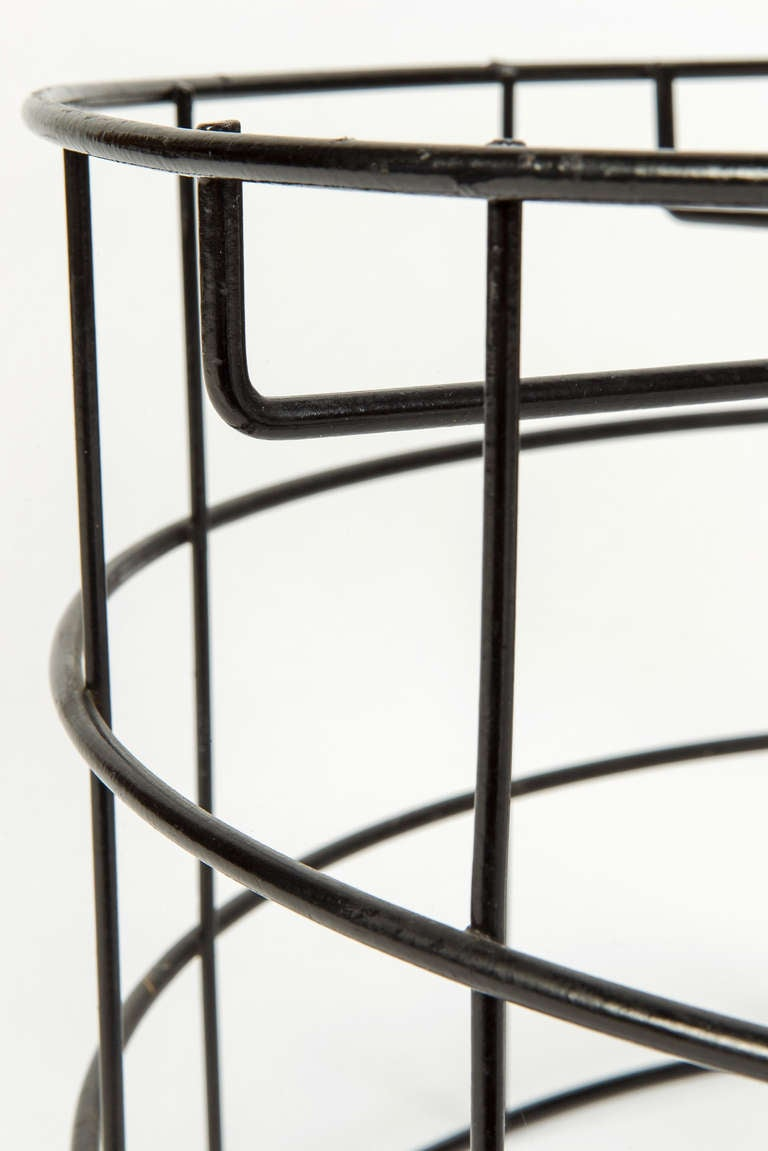 Rare Wireframe T1 Plus Stool with Suede Leather by Verner Panton For Sale 1