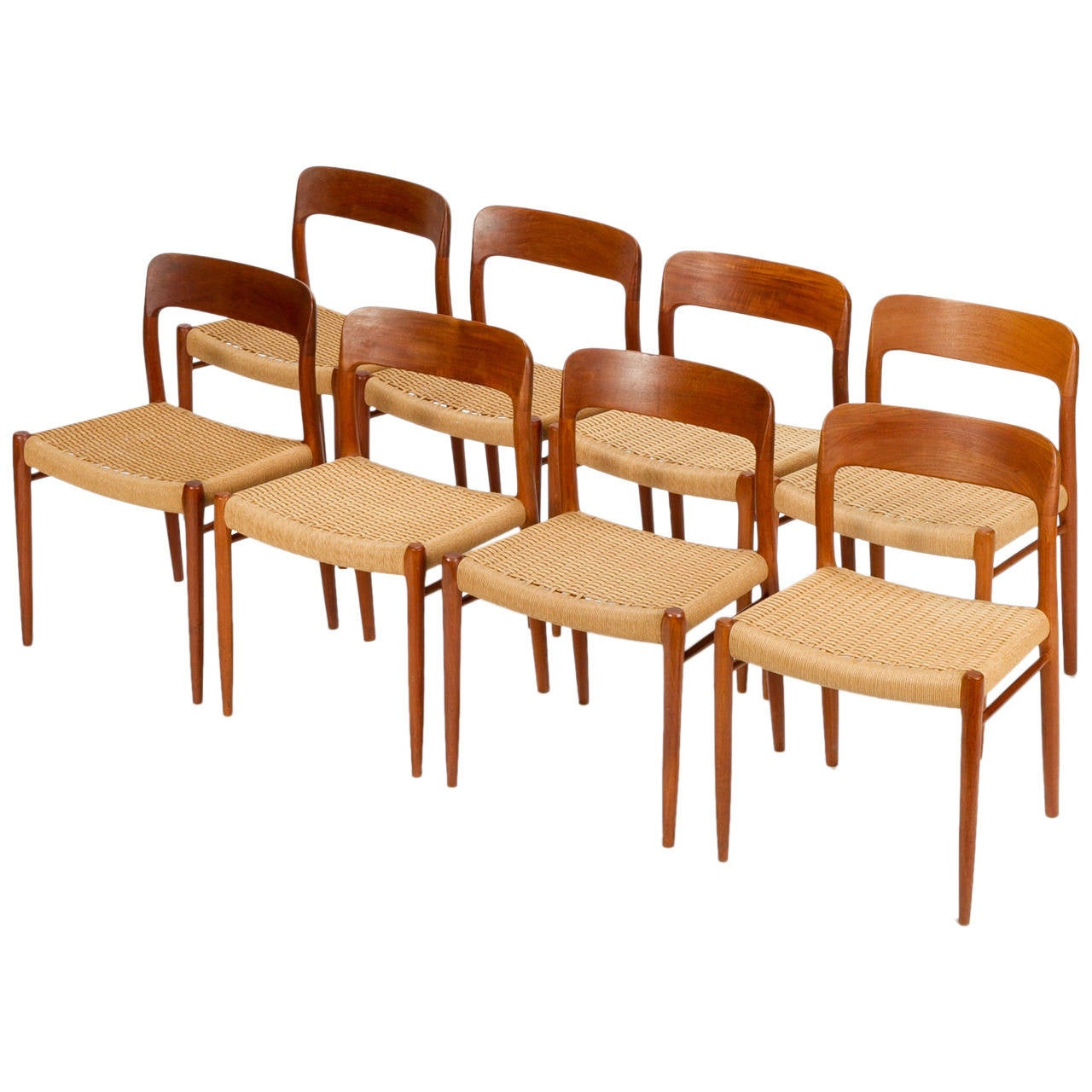 Eight Danish Dining Chairs Model 75 By Niels Moller In Teak And Papercord For