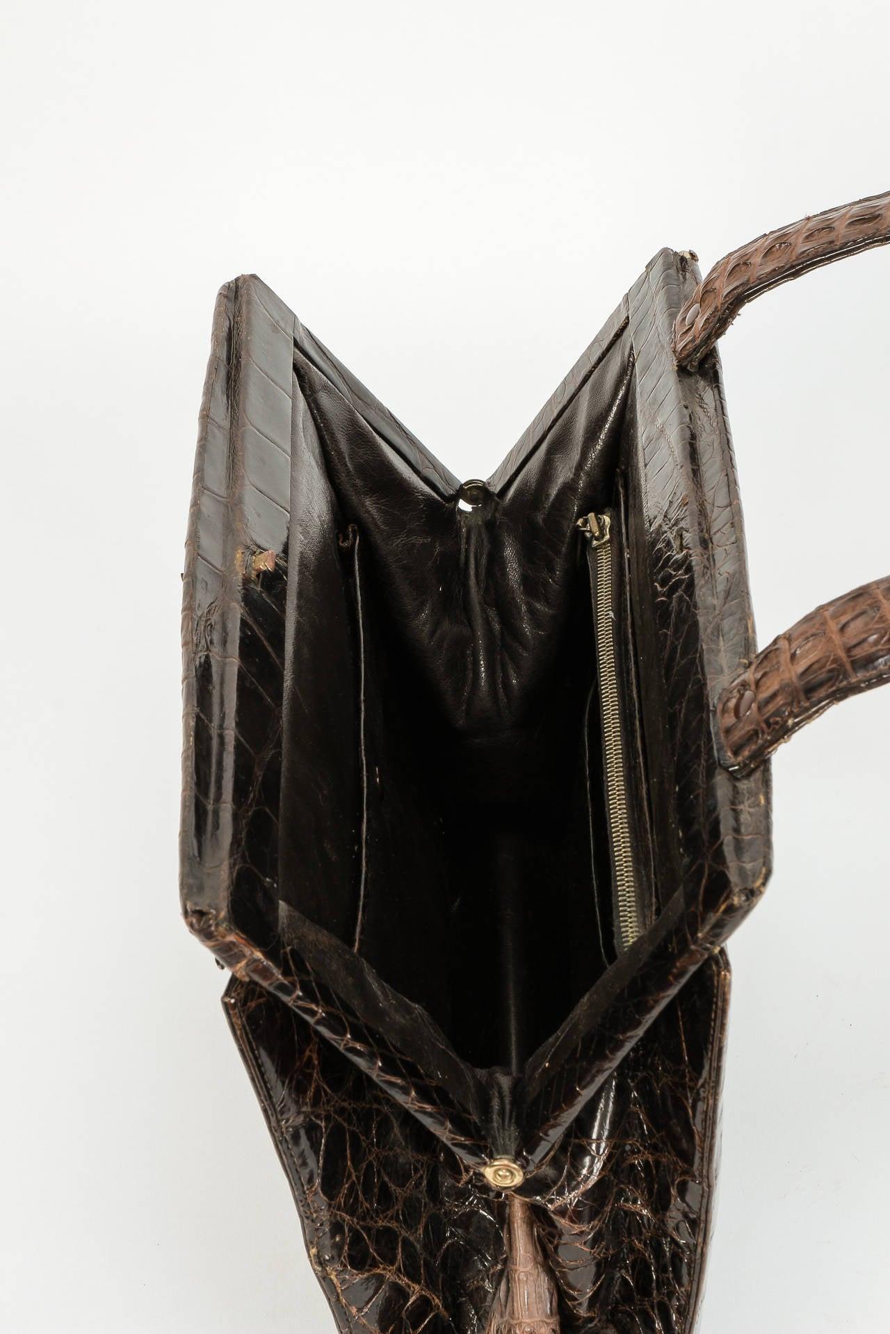 Real Alligator Leather Handbag Purse 1940s For Sale At