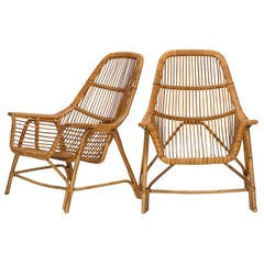 Pair of Italian Wicker Chairs by George Coslin, 1956