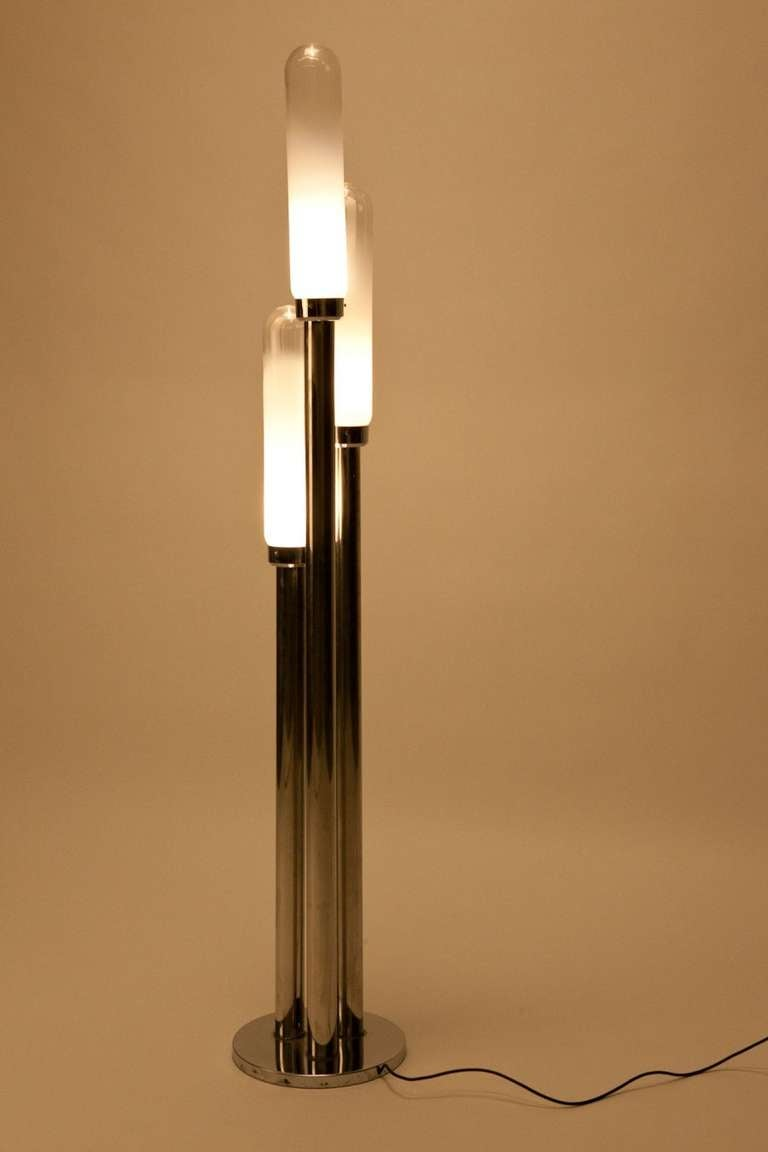 Carlo nason floor lamp chrome and glass 7039 at 1stdibs for Floor lamps chrome and glass