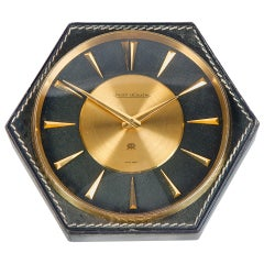 Hermes Table Clock Jeager-LeCoultre Hand-Stitched Leather, 1964