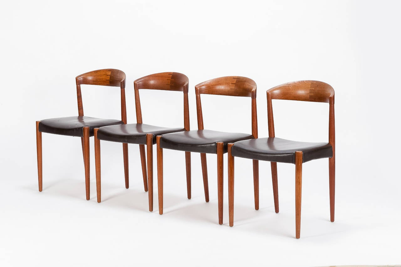 Four Danish Teak And Leather Chairs By Knud Andersen 1960s 2