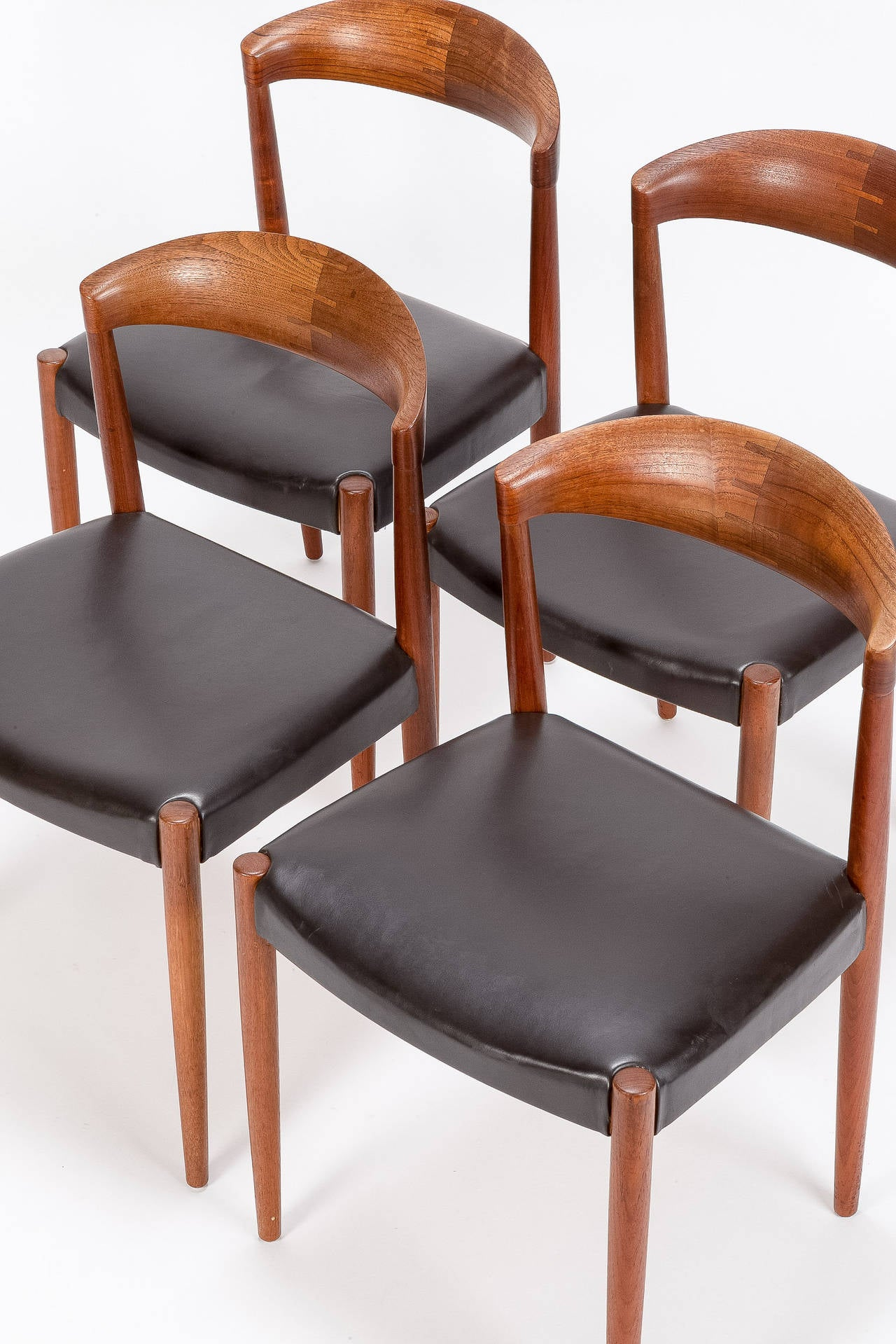 Four Danish Teak and Leather Chairs by Knud Andersen 1960s For