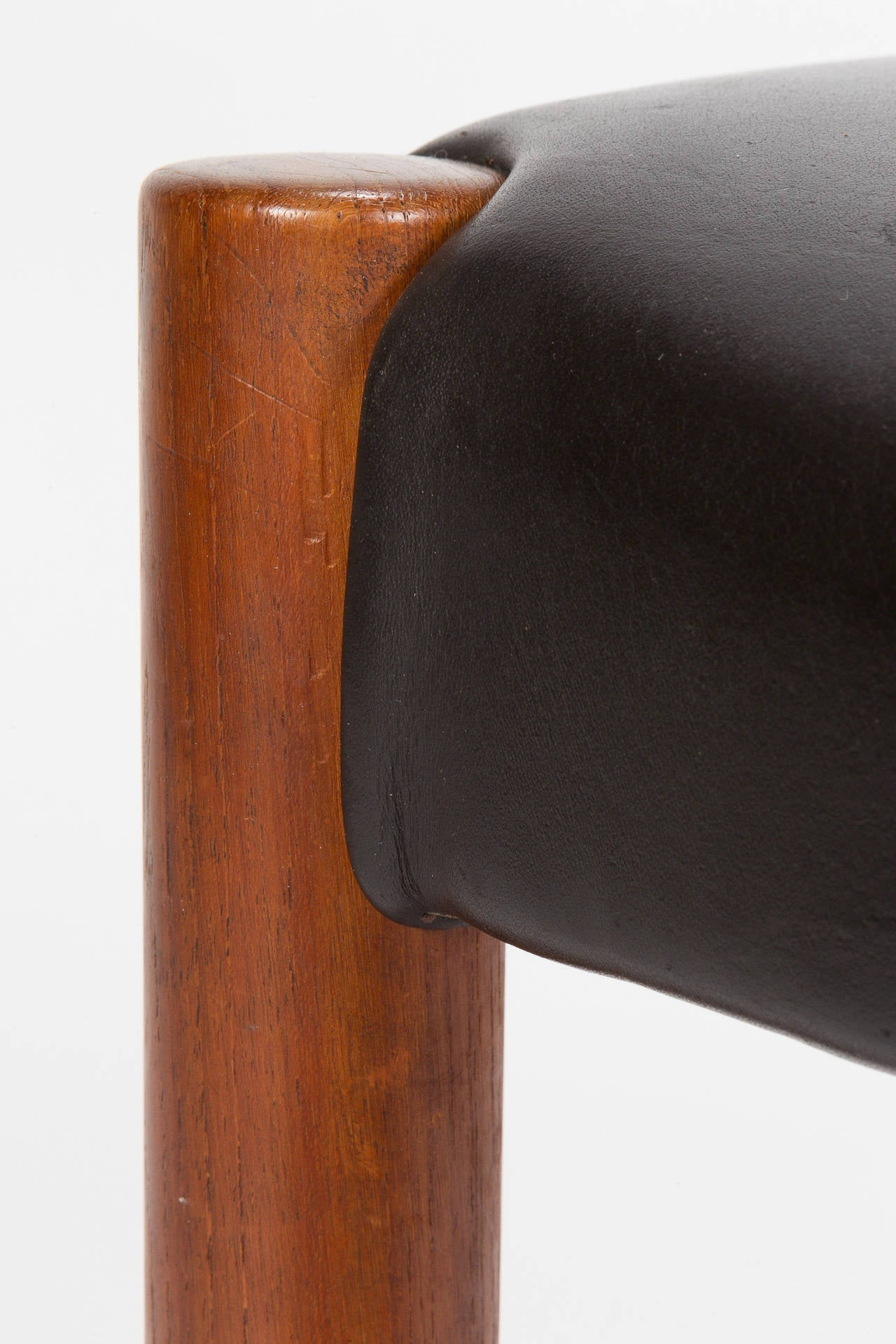 Four Danish Teak And Leather Chairs By Knud Andersen