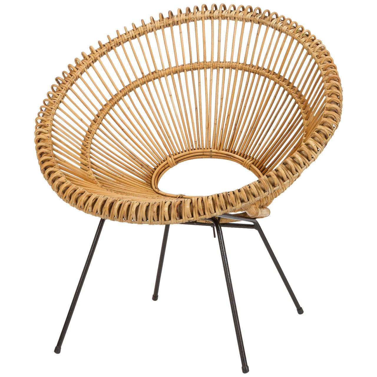 Round Wicker Chair - French wicker chair attributed to janine abraham dirk jan rol