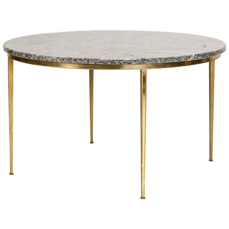 Art Deco Coffee Table In Marble Brass By Vereinigte