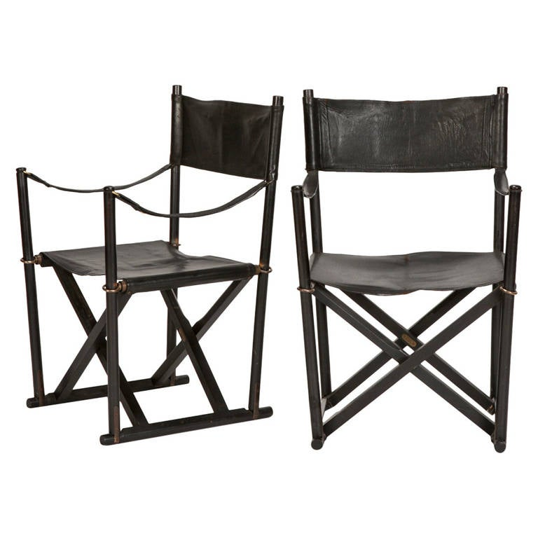 Pair of MK 16 Safari Directors Chairs by Mogens Koch Leather For Sale