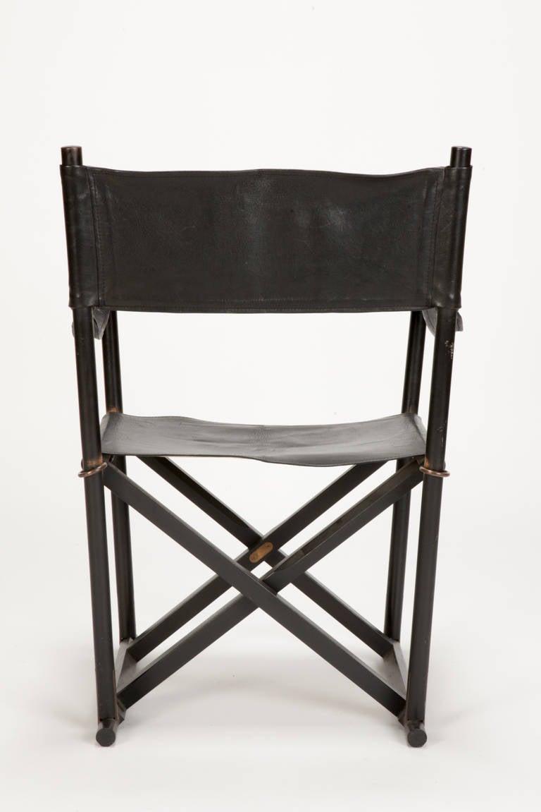 Scandinavian Modern Pair of MK 16 Safari Directors Chairs by Mogens Koch Leather For Sale