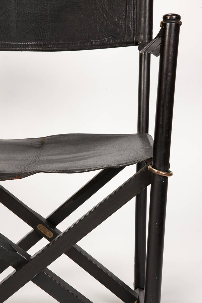 Danish Pair of MK 16 Safari Directors Chairs by Mogens Koch Leather For Sale