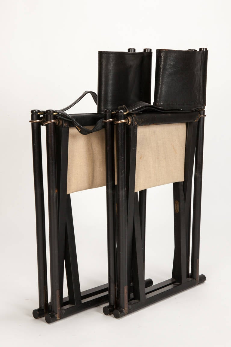 Pair of MK 16 Safari Directors Chairs by Mogens Koch Leather In Good Condition For Sale In Basel, CH