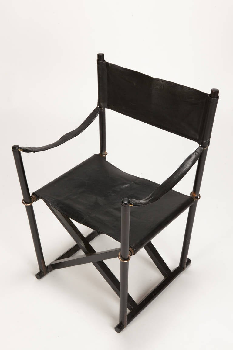 Mid-20th Century Pair of MK 16 Safari Directors Chairs by Mogens Koch Leather For Sale