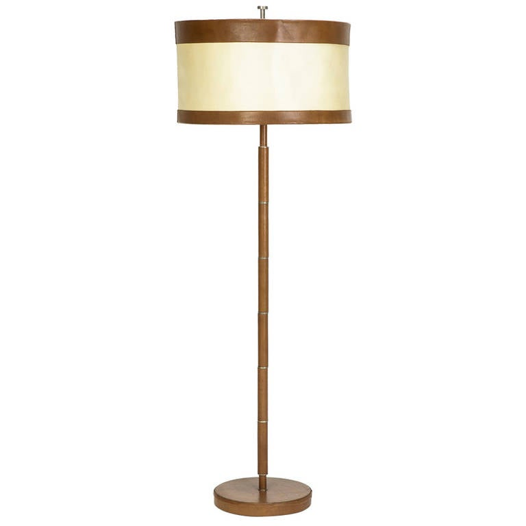 french leather floor lamp attributed to hermes 1940s at