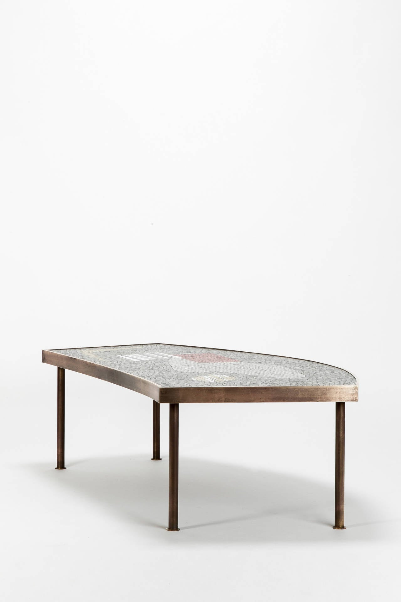 Mosaic Tiles and Brass Coffee Table by Berthold Müller