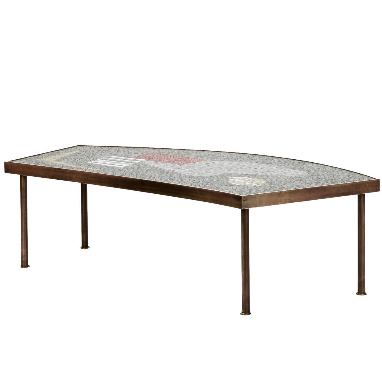 Mosaic Tiles And Brass Coffee Table By Berthold M Ller Oerlinghausen 1950s At 1stdibs