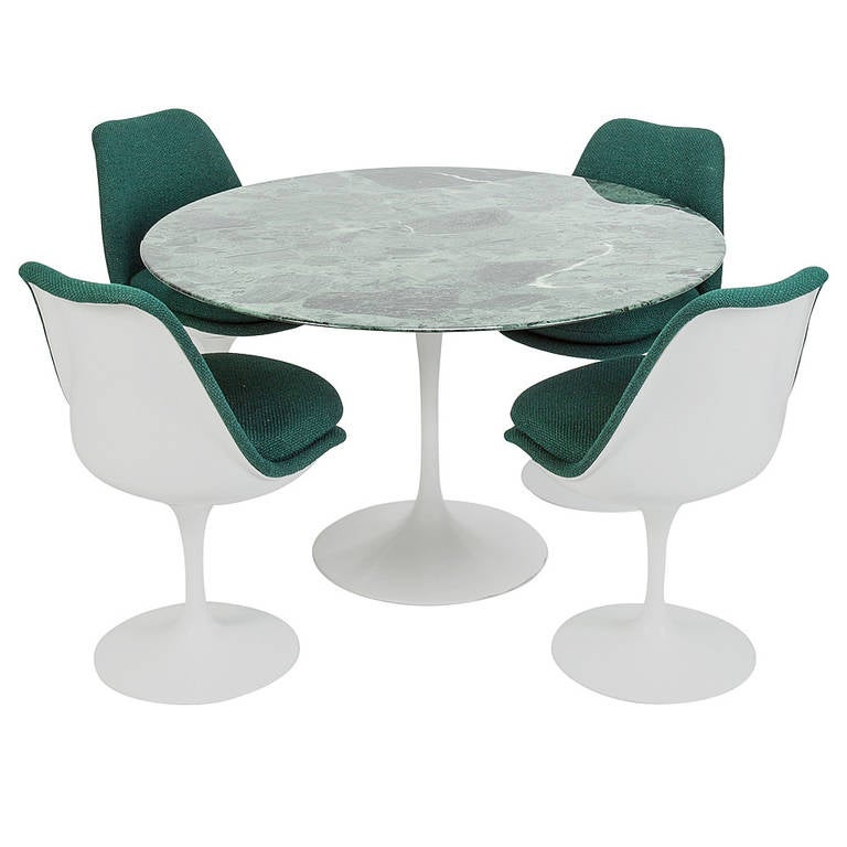 Set of Four Chairs and Green Marble Table by Eero Saarinen  : 1327950l from www.1stdibs.com size 768 x 768 jpeg 41kB