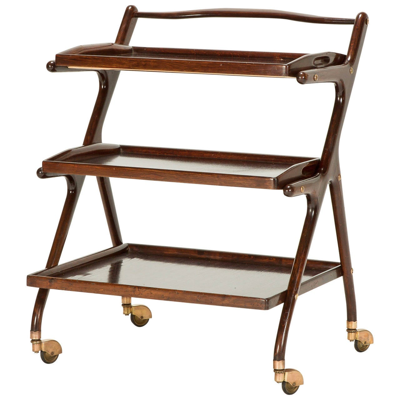 Italian Mahogany Serving Trolley by Cesare Lacca, 1950s