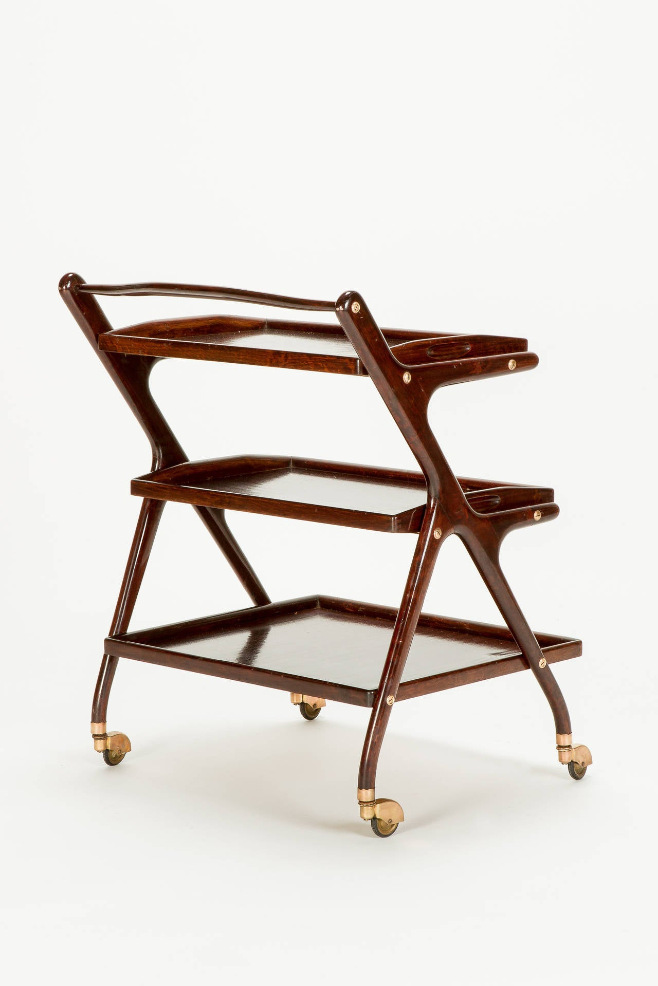 Italian Mahogany Serving Trolley by Cesare Lacca, 1950s In Good Condition In Basel, CH