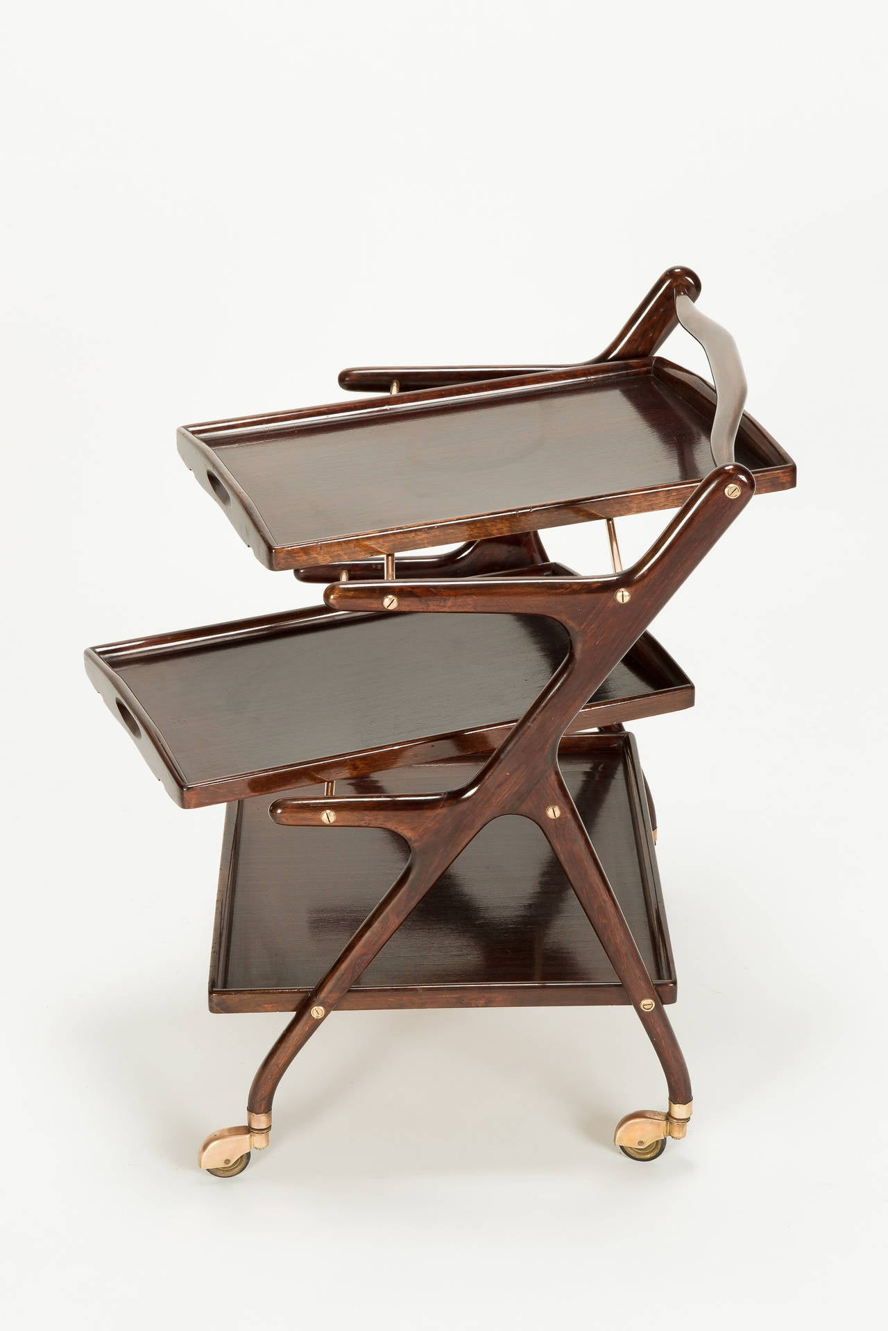 Mid-20th Century Italian Mahogany Serving Trolley by Cesare Lacca, 1950s