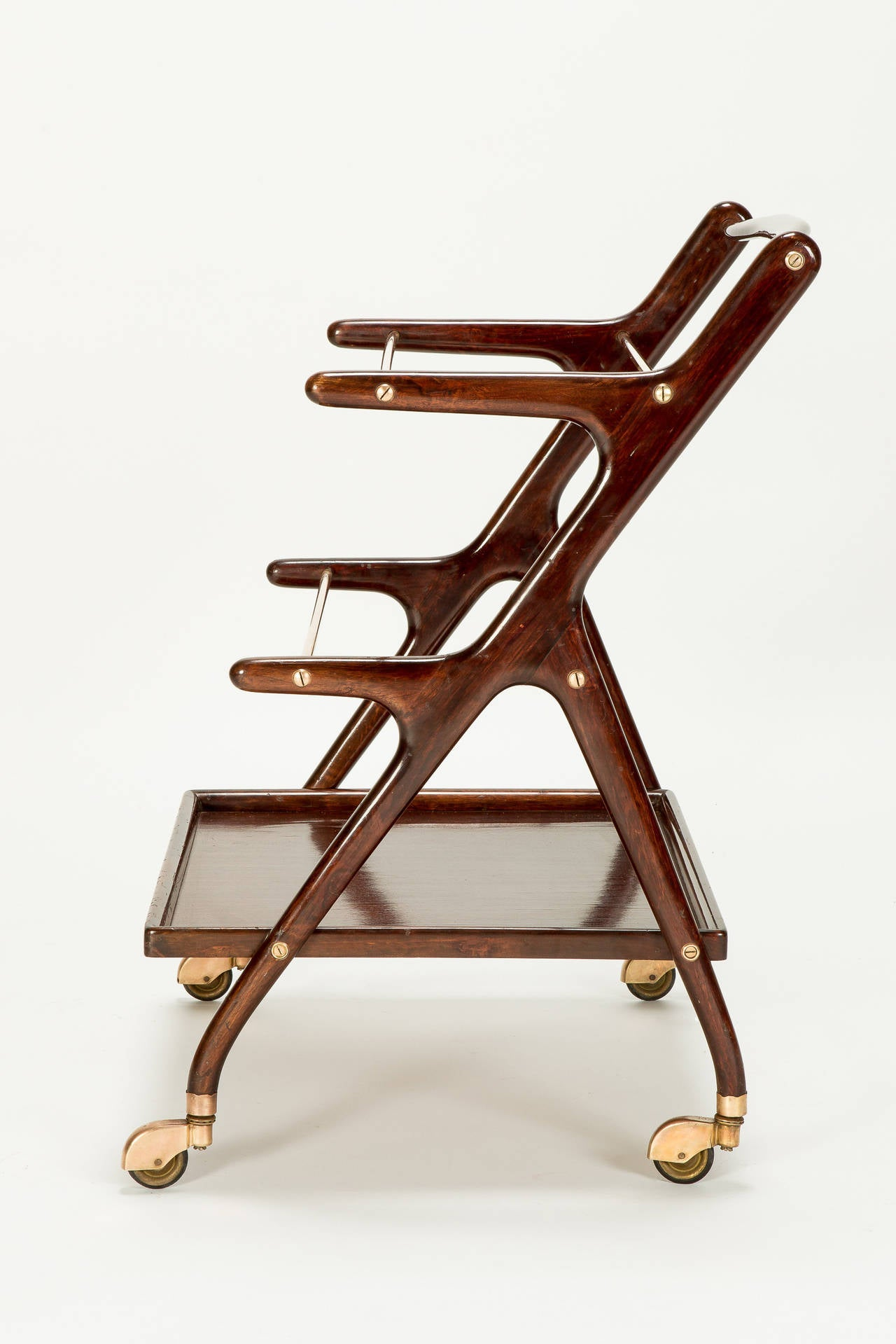 Brass Italian Mahogany Serving Trolley by Cesare Lacca, 1950s