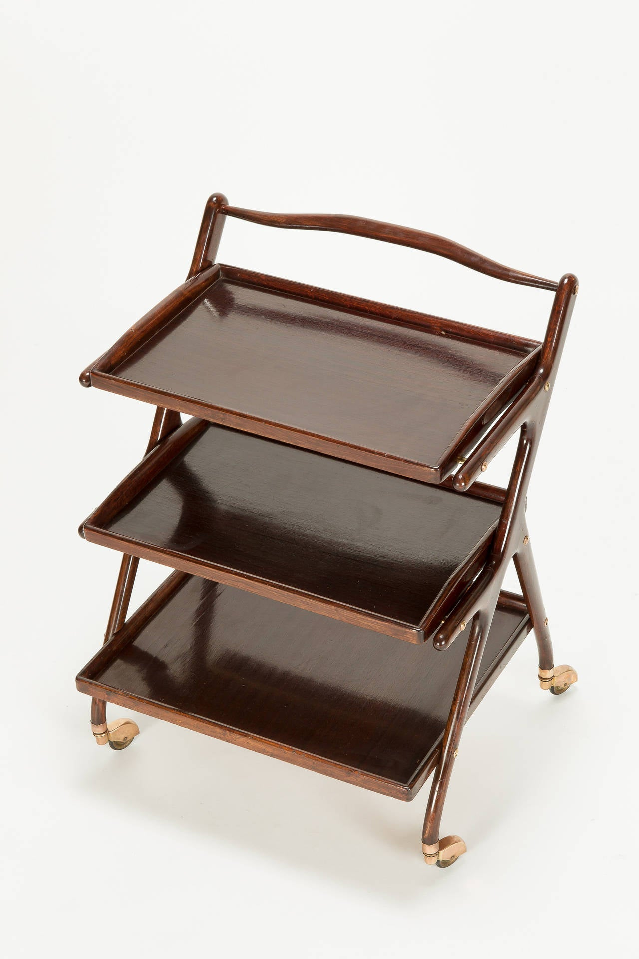 Italian Mahogany Serving Trolley by Cesare Lacca, 1950s 1