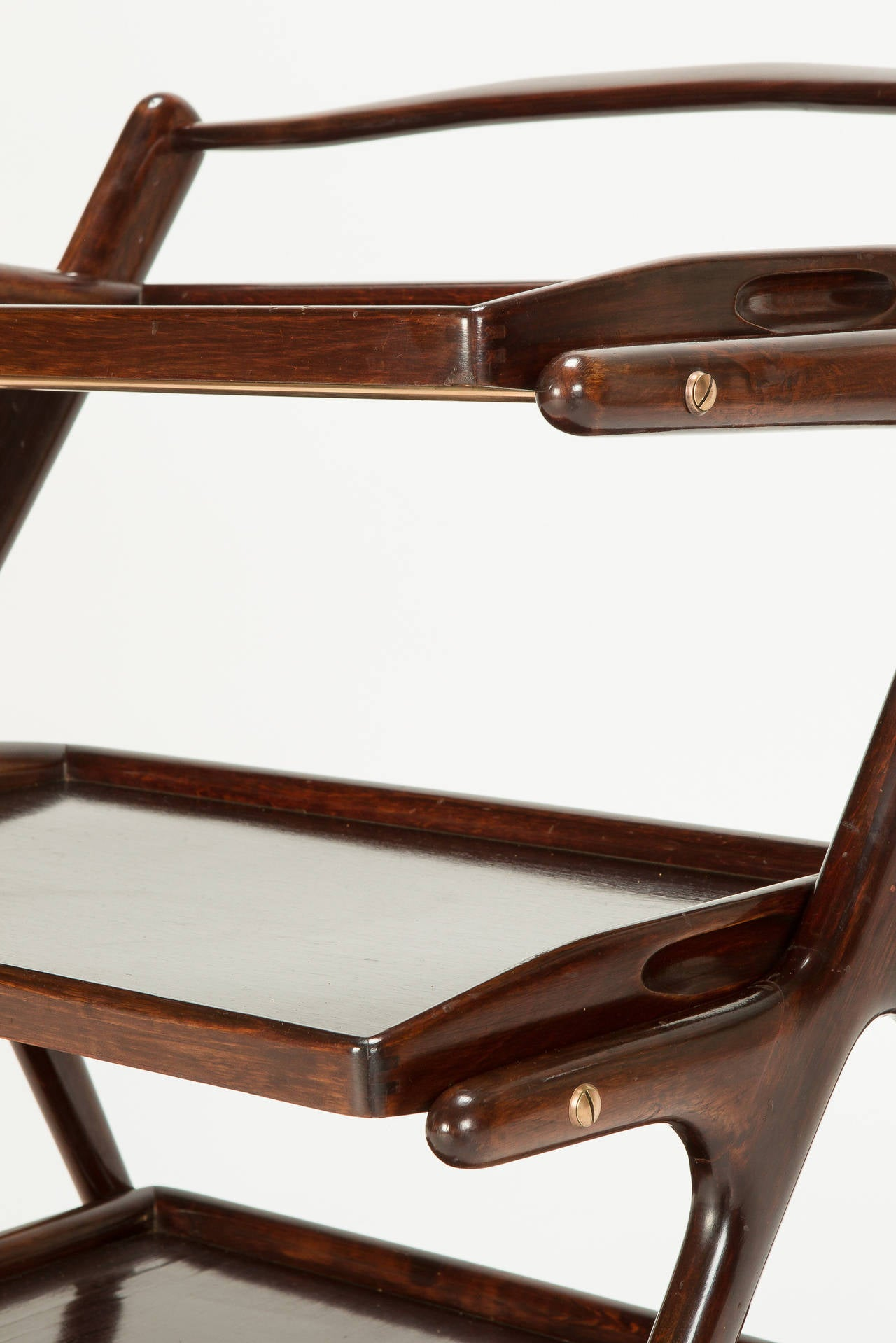 Italian Mahogany Serving Trolley by Cesare Lacca, 1950s 2