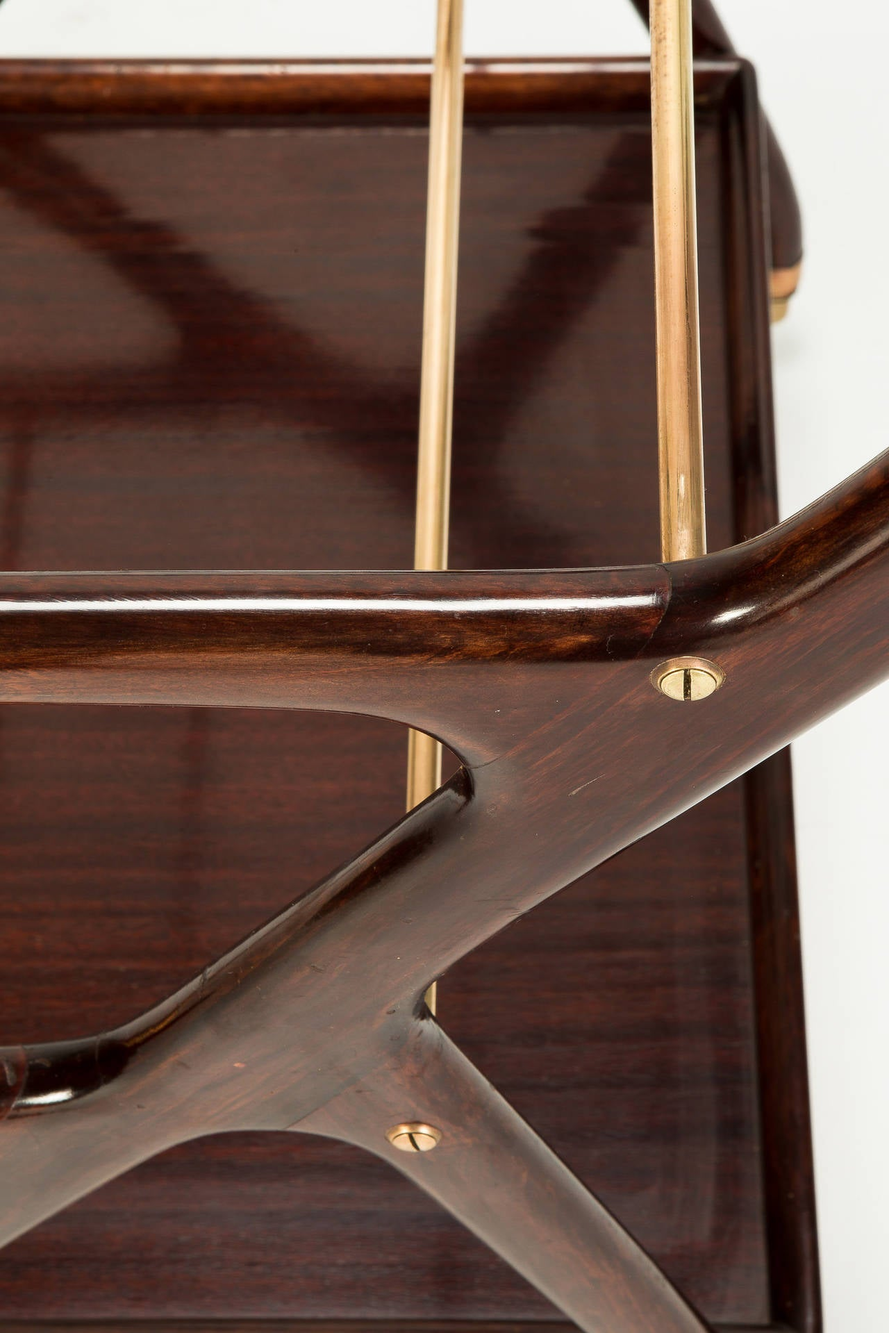 Italian Mahogany Serving Trolley by Cesare Lacca, 1950s 3