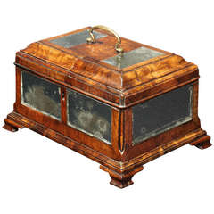 18th Century Figured Walnut and Mirrored Panel Tea Caddy