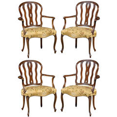 Important Set of Four Hepplewhite Period Mahogany Salon Armchairs