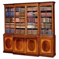George III Period Satinwood, Kingwood and Mahogany Library Breakfront Bookcase