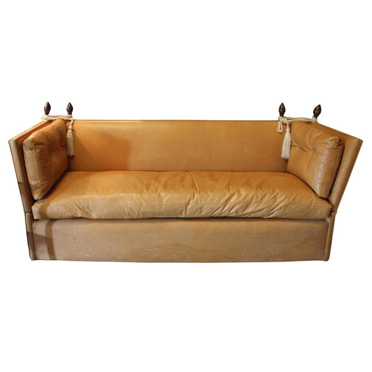 knole style cognac leather high back sofa for sale at 1stdibs. Black Bedroom Furniture Sets. Home Design Ideas