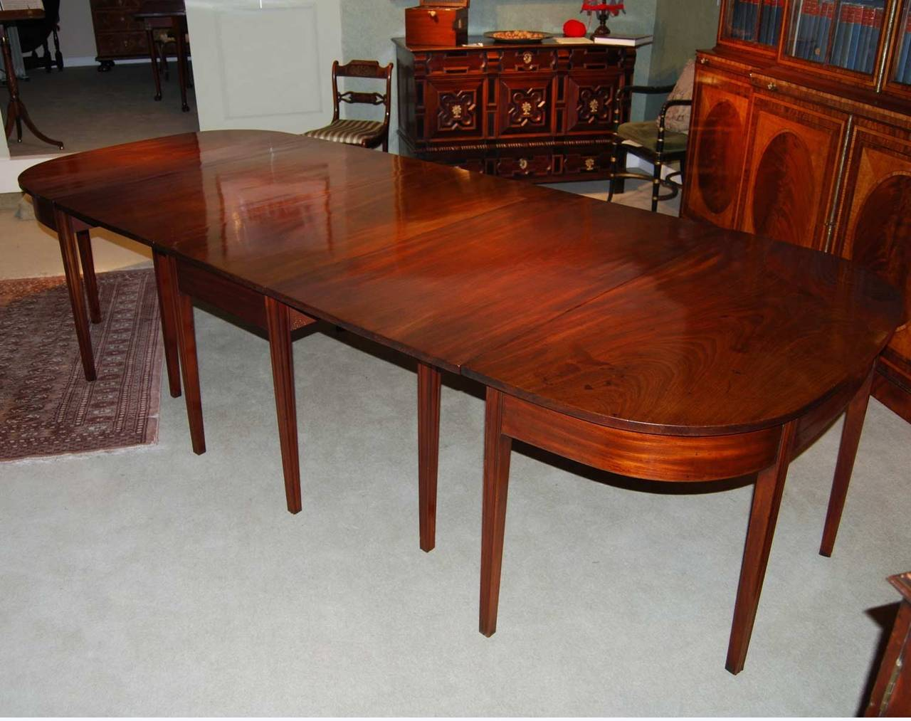 chippendale period mahogany d end dining table with