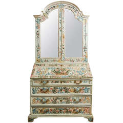 A North Italian painted bureau bookcase