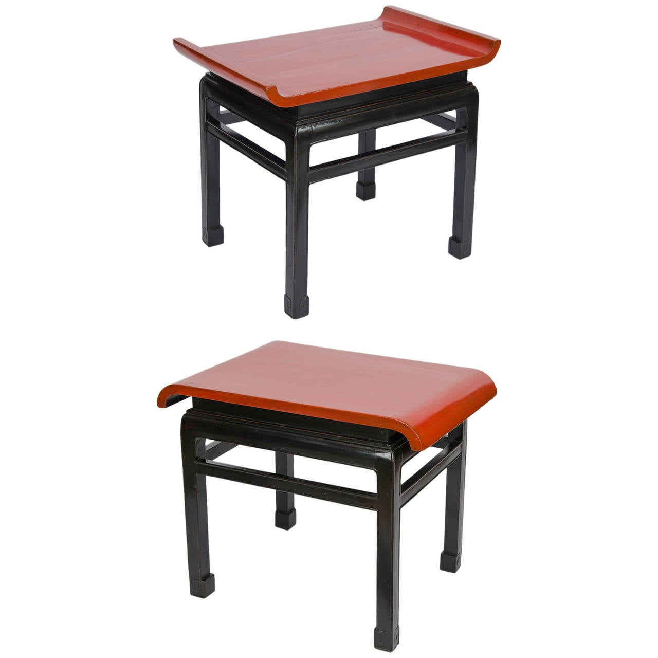 Pair Of Red And Black Lacquered Tables For Sale At 1stdibs