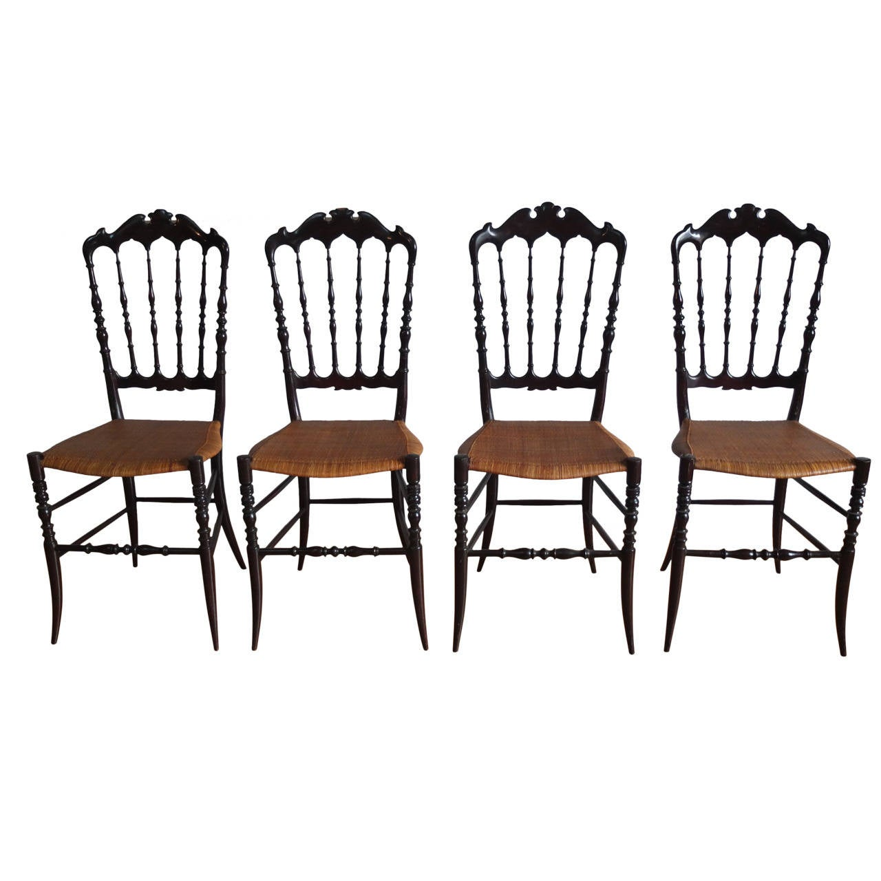 Chiavari Set Of Four Wooden Chairs 1960 At 1stdibs