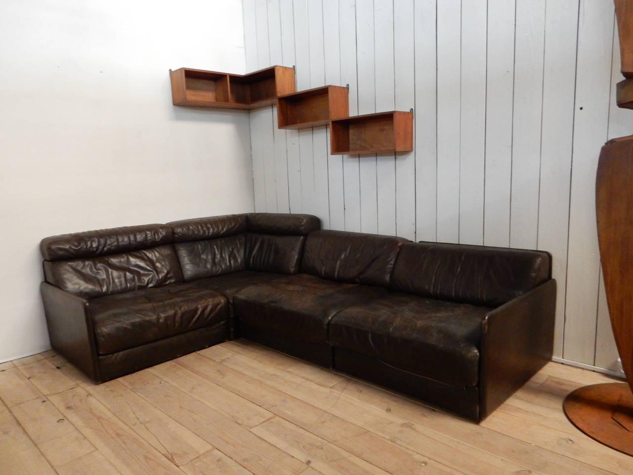1970 de sede module leather sofa at 1stdibs. Black Bedroom Furniture Sets. Home Design Ideas
