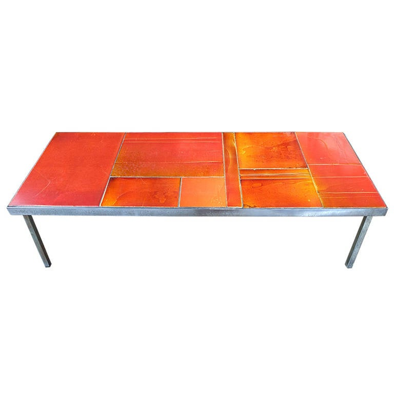 1960 Roger Capron Red Coffee Table Lave At 1stdibs