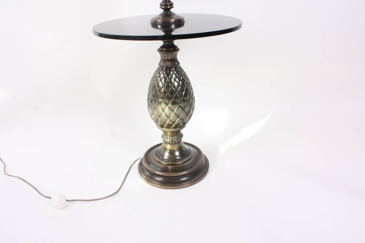 Belgium 1970s brass and glass floor lamp with table at 1stdibs for 1970s floor lamps