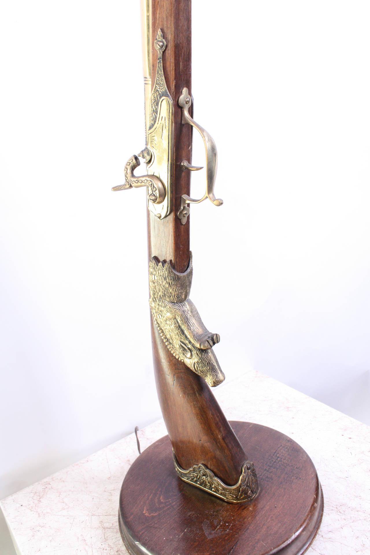 Italian Vintage Unusual Gun Floor Lamp, 20th Century For Sale