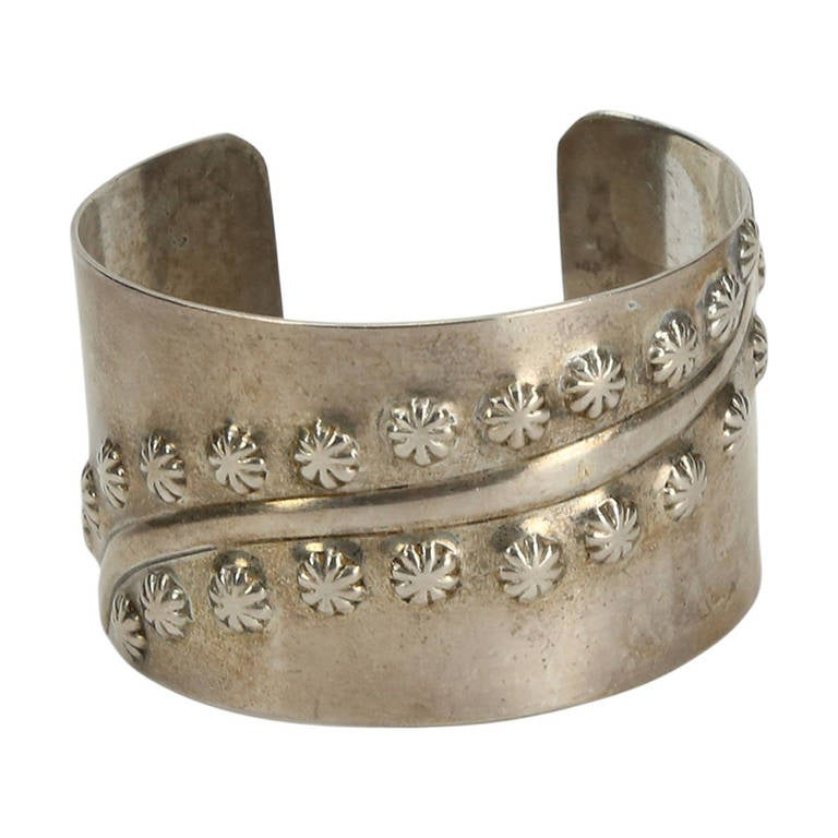 Mid Century Modern Francisco Rebajes Sterling Silver Cuff Bracelet For Sale