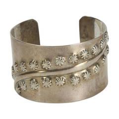 Mid Century Modern Francisco Rebajes Sterling Silver Cuff Bracelet