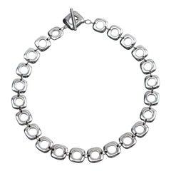 Elsa Peretti Tiffany & Co Square Cushion Sterling Silver Toggle Necklace