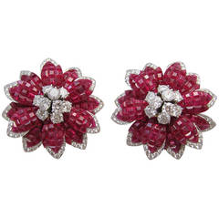 Alletto Brothers Mystere Style Ruby Diamond Ear Clips