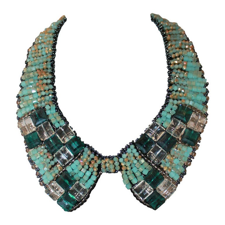 Barney's Teal Beaded Collar Necklace 1
