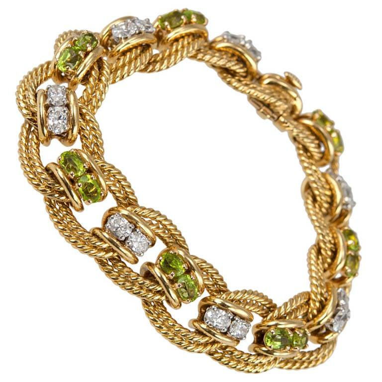 Peridot and Diamond Gold Link Bracelet 1