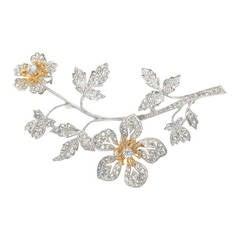 Exquisite Antique Style Faux Diamond Trembler Spray Pin