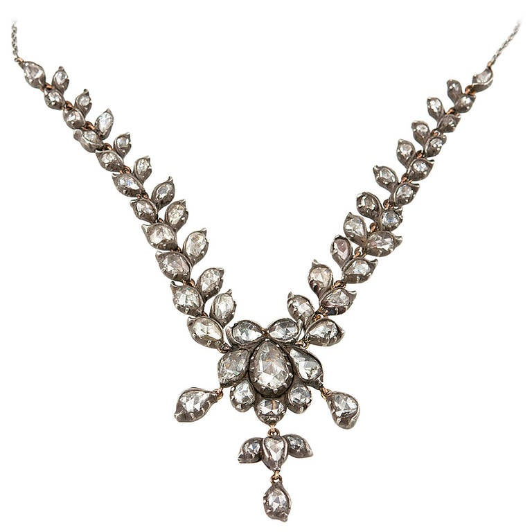 Victorian Rose Cut Diamond Necklace For Sale
